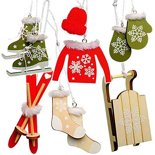 Unbekannt 10 TLG. Deko Set -  Winter & Weihnachten - Ski / Schlittschuhe / Schlitten - aus Holz - Miniatur / Diorama - Anhänger - Weihnachtsdeko / Winter - Winterurla..