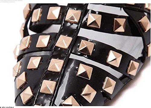 Gladiator Spitze Hohl Nieten Slingback Flache Sandalen Römische Schuhe Aschenputtel Schuhe Dame Einfach Gemütlich Sexy Fesselriemen T-Strap Nieten Sandalen Lässige Schuhe Punk Schuhe Eu Sizie 35-40 Black