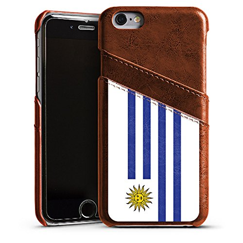 Apple iPhone 5s Housse Étui Protection Coque Uruguay Drapeau Ballon de football Étui en cuir marron