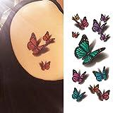 Oottati Tatuaggi Temporanei 3D Farfalla Verde Blu (Set di 2)