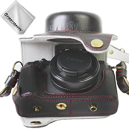 First2savvv schwarz Premium Qualität Ganzkörper- präzise Passform PU-Leder Kameratasche Fall Tasche Cover für Canon PowerShot G1 X Mark III mit Reinigungstuch - XJD-G1X Mark III-HH01