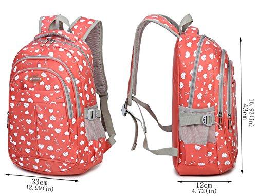 Tibes Oxford Rucksack gedruckt Nette wasserdichte Rucksack Schulrucksack für Mädchen Rosa 3 Rosa