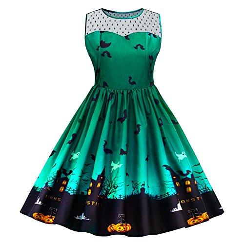 SIMYJOY Damen Retro A-Linie Ohne Arm Halloween Kürbis Swing Kleider Skater Kleider für Party Cocktail Kostüm und Parade Grün (Armee Frau Kostüm)