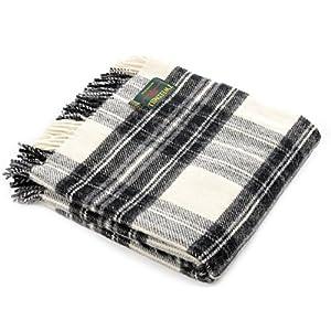 51nmy595NfL. SS300  - Dress grey stewart tartan British made wool picnic blanket travel rug throw