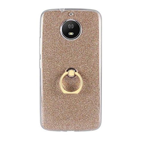 EKINHUI Case Cover Soft Flexible TPU Back Cover Case Shockproof Schutzhülle mit Bling Glitter Sparkles und Kickstand für MOTO G5s ( Color : White ) Gold