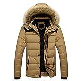 Oyedens Herren Parka lange Winterjacke Mantel mit Fell-Kapuze und Futter aus Baumwollmischung (XL, Khaki)