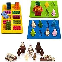 Molde para robot con forma de Lego 3 piezas/set de moldes de silicona para