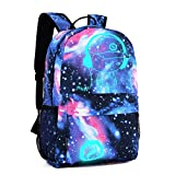Unisex Mode Rucksack, MFEU Galaxy Schultertasche Oxford Stoff Schule Laptoptasche Rucksack Reise Daypack mit Fluoreszenz (Black Pen Bag + Diebstahlsicherung)