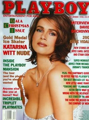 PLAYBOY EDITION US du 01/12/1998 - DAVID DUCHOVNY - KATARINA WITT NUDE - THE PLAYBOY MANSION - INCREDIBLE TRIPLET PLAYMATES - PHIL HARTMAN'S - ALL NEW LITTLE ANNIE FANNY - KEVIN SMITH - SEX STARS 98 - JOYCE CAROL AND ETHAN COEN
