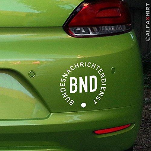 BND Bundesnachrichtendienst-Aufkleber Deutschland Geheimdienst Wappen Logo Auto Klebefolie Spion Agent Alfashirt (weiß, 15x15cm) #A416 (Agent-aufkleber)