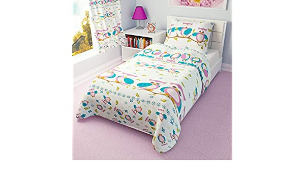 Blue Owls 90x120 cm Boys Girls Duvet Cover and Pillowcase Cot//Cot bed//Toddler Bed