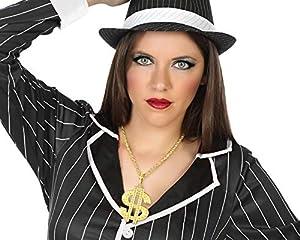 Atosa-51785 Atosa-51785 - Accesorio para disfraz de años 20 Cabaret y Mafia, collar para adulto, unisex, color dorado, talla única