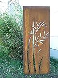 Garteninspiration Sichtschutz aus Naturrost mit Bambusmotiv