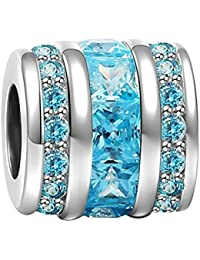 SOUFEEL Geburtsstein Monat Farbe Eimer Charms Beads für Damen 925 Sterling Silber Kristall Charm für Halsketten und europäische Armbände