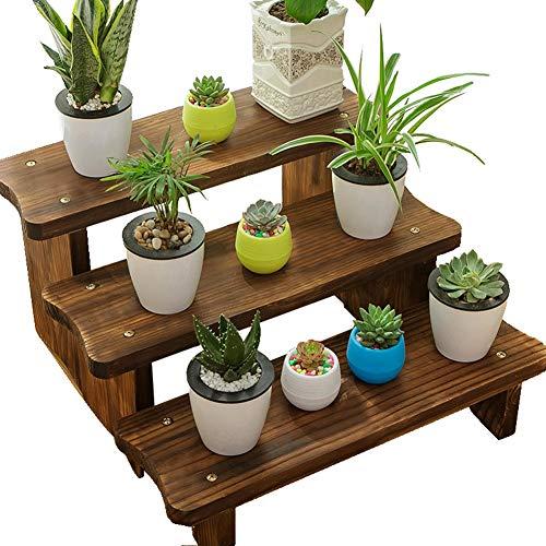 Preisvergleich Produktbild JNYZQ Pflanze Blume Stehen Blumentöpfe Halter antiseptische Holz Kunst Leiter-Shaped Boden stehende karbonisierte Farbe,  8 Größen (Farbe : 40cm-Combination)