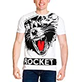 Marvel Rocket Big Face, Camiseta para Hombre, Blanc, XL