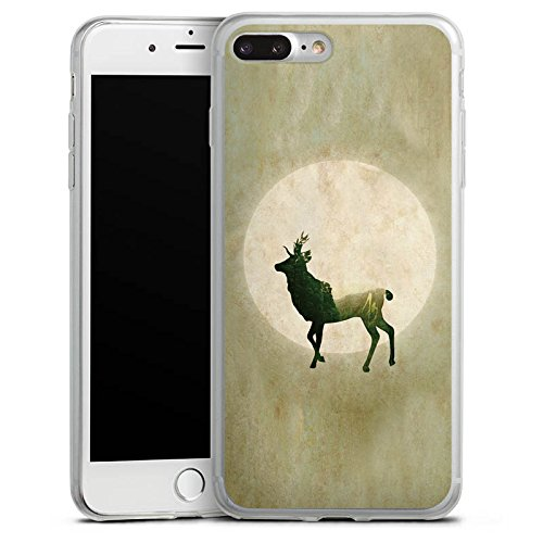 Apple iPhone 8 Slim Case Silikon Hülle Schutzhülle Hirsch Mond Tiere Silikon Slim Case transparent