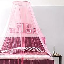 Lumaland Moustiquaire Protection Anti-Insect Rond 65 x 250 x 400 cm intérieur et extérieur pour Voyage polyester lavable Rose
