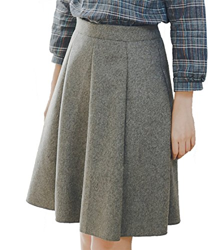 Damen Herbst Winter Casual Rock Kurz Faltenrock Hohe Taille A-Linie Rock Wollröcke Wollmischung S Grau (Wollmischung Taille)