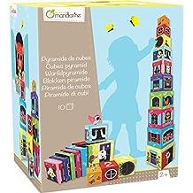 Avenue Mandarine JE506O - Jeu éducatif - Boîte de 10 Cubes à Empiler Numéroté, 1,05 M
