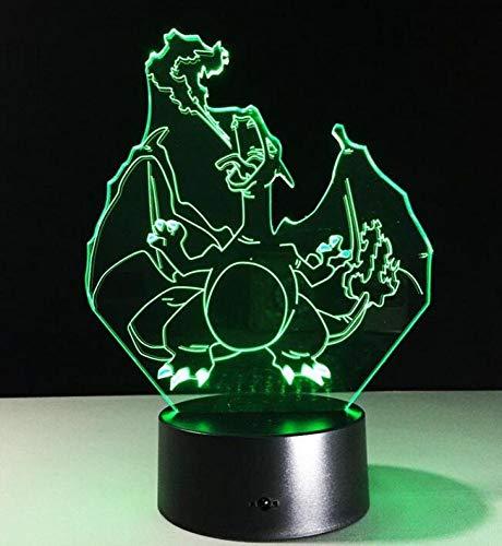 CTO Licht 3D Bunte Nacht Led Touch-Schalter USB Spray Fire Dragon Gradient Tischlampe,A,Lampe (Dragon Touch-lampe)