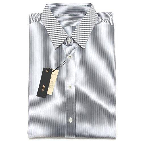 5718L camicia uomo MAURO GRIFONI righe grigie manica lunga shirts men [42 (16.1/2)]