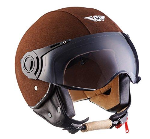 Moto Helmets H44 - Helmet Casco de Moto , Marrón Cuero, XL (61-62cm)