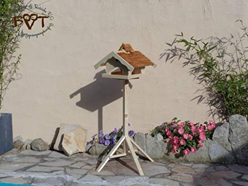vogelhaus,groß,mit ständer,K-VONI5-MS-dbraun001 NEU MASSIVES GANZJAHRES PREMIUM-Qualität,Vogelhaus,+ NISTKASTEN IN EINEM (VOLL FUNKTIONSFÄHIG mit Reinigungsvorrichtung) !!! KOMPLETT mit Ständer !!! wetterfest lasiert, Qualität Schreinerware 100% Massivholz - VOGELFUTTERHAUS MIT FUTTERSCHACHT-Futtersilo Futterstation Farbe braun dunkelbraun schokobraun rustikal klassisch, Ausführung Naturholz MIT TIEFEM WETTERSCHUTZ-DACH für trockenes Futter