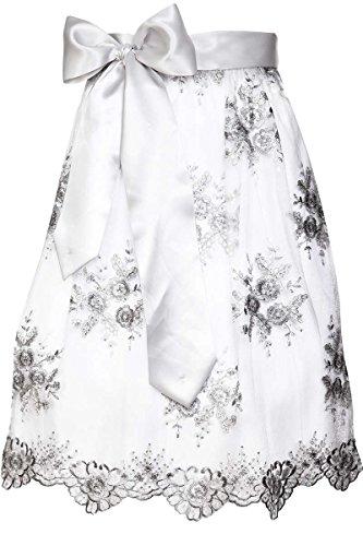 MarJo Damen Spitzenschürze Dirndlschürze 65 cm Silber, SILBER,