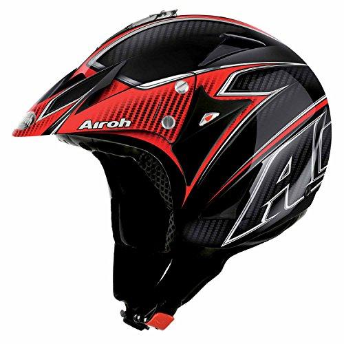 Airoh Evergreen Casco para motociclista, color Negro Carbón-Rojo, talla 60-L