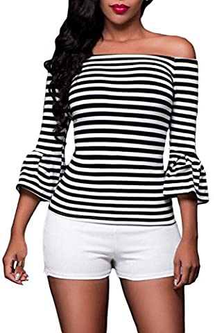 Fempool Women's Classic Stripe Off Shoulder Long Sleeve Top (UK16-18, Black)