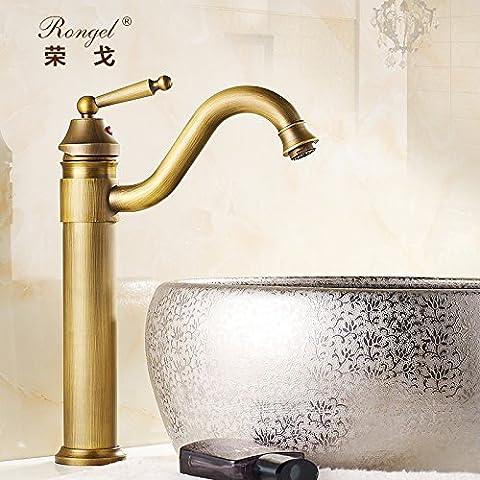 Winson Raccordi di antiquariato tutti continentale di rame a caldo e a freddo di rubinetti del bacino su Art Nouveau Lavabo rubinetti nero in rilievo - Rilievo Ferro