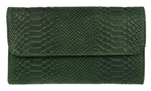 Snake Print Wildleder-Handtasche aus italienischem Leder - dunkelgrünGrün