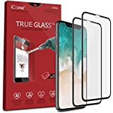 iCarez [Full Coverage Tempered Glass] Screen Protector for iPhone X (Case Friendly) Highest Quality Easy Install [2 Pack 0.3MM 9H 2.5D] with - Retail Packaging