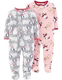bd77e4bbdc Schlafanzug Fleece 2-er Pack Größe 92 - 110 Einteiler mit Füßen Pyjama  Winter Nachtwäsche warm für…