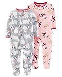 Carter's child of mine Schlafanzug Fleece 2-er Pack Größe 92-110 Einteiler mit Füßen Pyjama Winter Nachtwäsche warm für Mädchen (92/98)