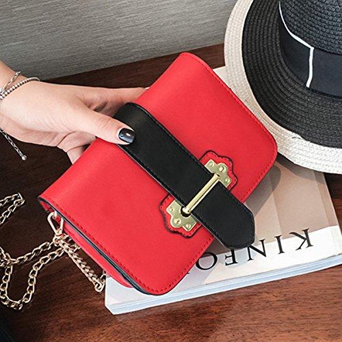 frauen Mit schnalle Kette kleine quadratische tasche Schulter messenger bag mode-paket Rot