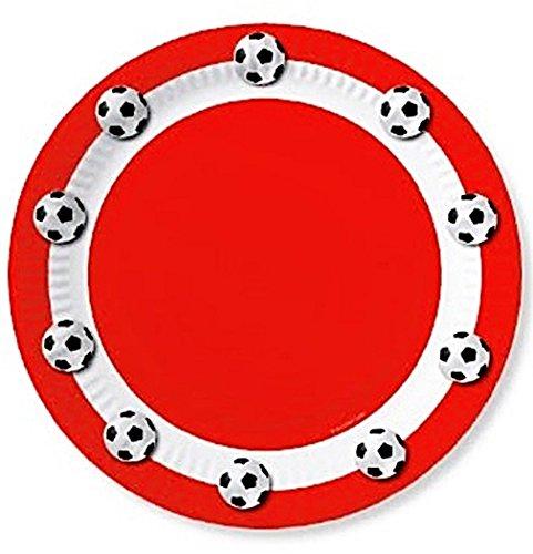 10 Pappteller 23 cm Motiv Fussball rot/weiss -