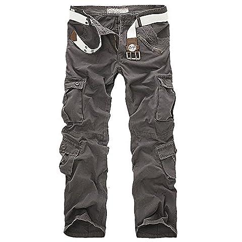 Cargohose Herren Cargo Multi-Tasche Trousers incl. belt Pure Vintage (S, Hell Grau)