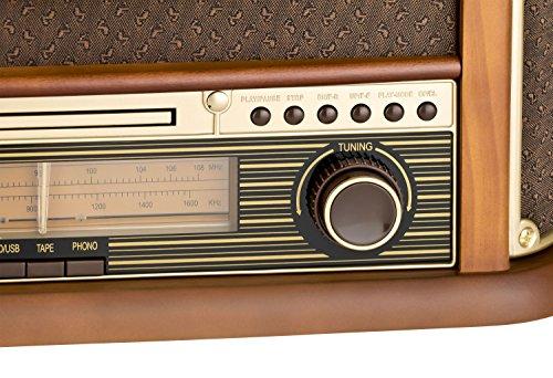 Roadstar HIF-1899 Retro Stereo-Anlage mit Plattenspieler, Kassette, CD-Player und Radio - 6