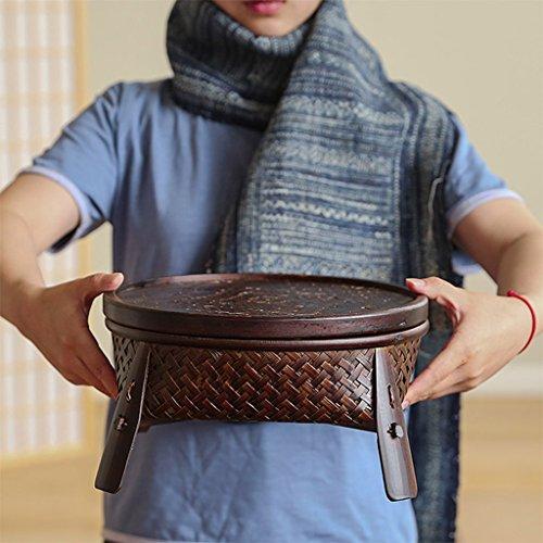 Tables de pique-nique Panier de stockage plateau de thé laque artisanat table de thé multi-usages bambou weave boîte de rangement (Color : Brown, Size : 27*27*14cm)