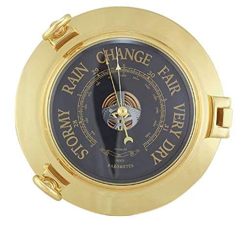 Linoows Marine - Barómetro latón Macizo, 22,5 cm de diámetro