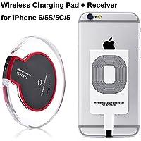 Drahtlose Qi Ladegerät Induktive Ladestation Qi Wireless Charger Charging Pad Dock Station + iPhone Empfänger für iPhone 7 6s 6 5s 5c, 6s plus, 6 plus, Samsung Galaxy S7 S6, S6 Edge, Note 5, Nexus 7 2nd Gen, Nexus 4/5/6, LG G2/G3 usw