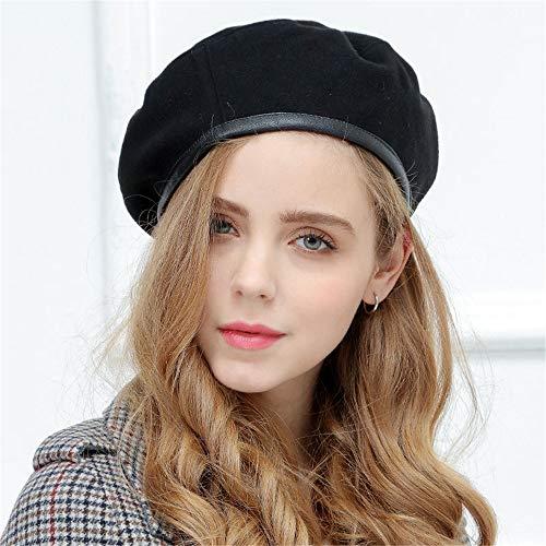 YXLMZ Geburtstagsgeschenk Frauenhut Herbst Winter Baskenmütze Weiblichen Flachen Top Kürbis Knospe Hut Leder Hut Eine Größe Schwarz