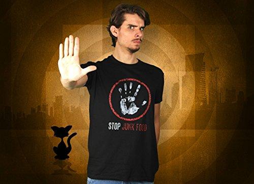 Stop Junk Food - Herren T-Shirt von Kater Likoli Deep Black