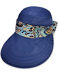 Vbiger Mujeres Visera Sombrero de Ala Ancha Mariposa Nudo Flexible Sombrero Playa Plegable