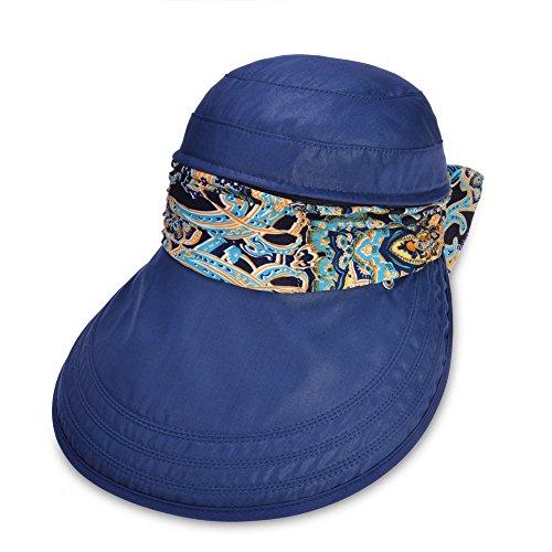Vbiger Faltbare Sommer Sonnenhut Weiblicher Hut Baseball Kappe Frauen Anti-UV Hut (Blau+)
