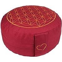 Preisvergleich für maylow Yoga mit Herz® - Yogakissen Meditationskissen mit Stickerei Blume des Lebens 33x15 cm (erhöhte Sitzposition für Anfänger und Geübte) mit Dinkelspelz gefüllt - Bezug und Inlett 100% Baumwolle