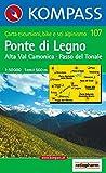 Carta escursionistica n. 107. Laghi settentrionali. Ponte di Legno, Alta Val Camonica, Passo del Tonale 1:50.000