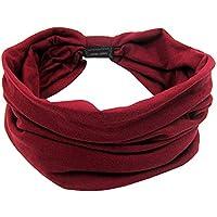 Headbands, YOBOKO Head Wrap Stretchy Moisture Hairband Twisted Sport and Shampoo Hair Band for Girl Women (Single Wine Red)